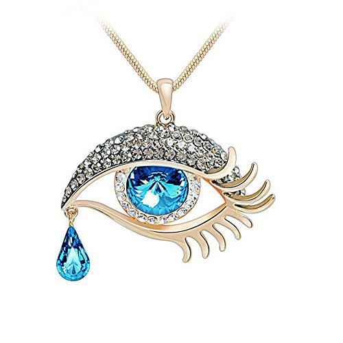 [Darkey Wang Fashion Women's Unique High-Grade Evil Eye Crystal Teardrop Necklace] (Evil Eye Skull Costumes)