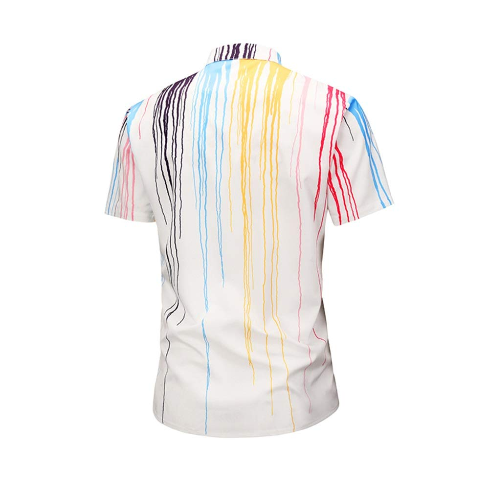 Mens Summer Short Slleve Shirt with Ink Printing Fashion Casual Street Youth Shirt Large Size M-XXL