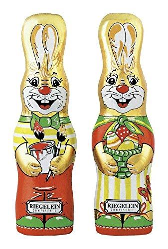 2 Chocolate Easter Bunnies /Schokoladen Osterhasen - Made in Germany by Riegelein