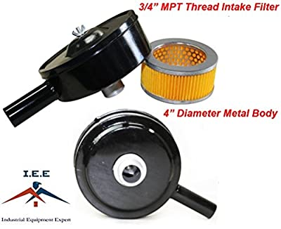 "Compressor Air Intake Filter Metal Body 4"" Dia - 3/4"" & 1/2"" MPT with Paper Cartridge"
