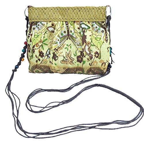 Abaría - Bolso tejido crossbody bag mujer?verde mariposa marrón