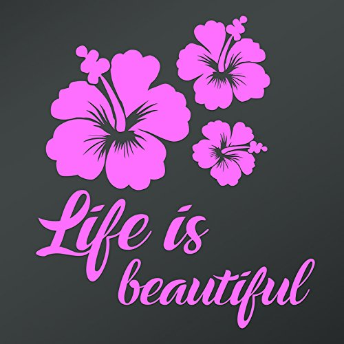 DD816LP Hibiscus Flower Life is Beautiful Decal Sticker | 5.5-Inches by 4.9-Inches | Premium Quality Light Pink Vinyl