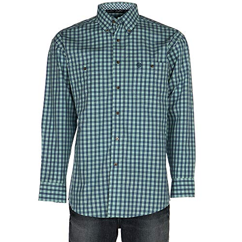 - Wrangler Men's George Strait Two-Pocket Long Sleeve Plaid Turquoise/Blue Medium