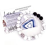 Essential Oils Aromatherapy Diffuser Bracelet for Women - LUNA - Howlite Gemstone Silver Lava Stone Jewelry