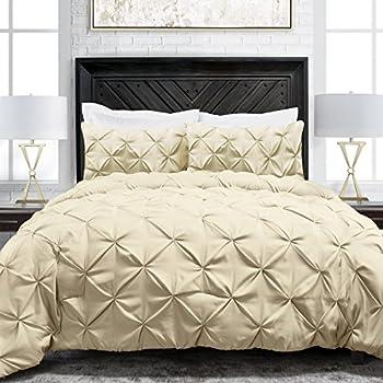 Sleep Restoration Pinch Pleat 3-Piece Luxury Goose Down Alternative Comforter Set - Premium Hypoallergenic All Season Pintuck Style Duvet Set -Full/Queen - Ivory