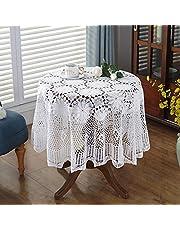 SKkyer Obrus koronkowy szydełkowany bawełniany obrus okrągły obrusy do dekoracji kuchni (kolor: Biały, rozmiar: 150 x 150 cm)