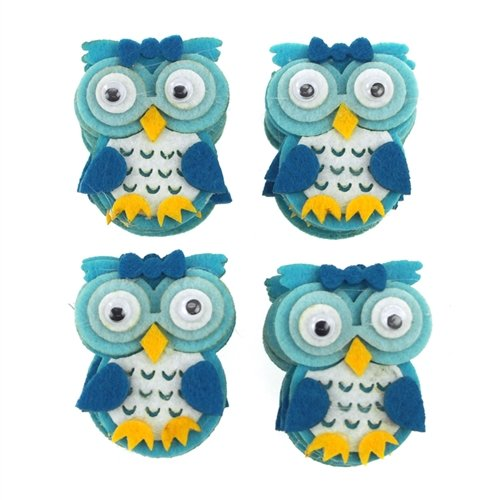 Homeford FCFTCF256BLU Owl Felt Animals Baby Shower Decor (12 Pack), 2