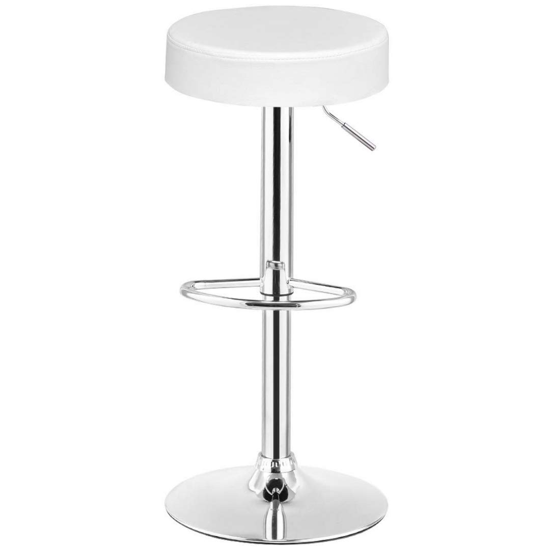 Contemporary Design Height Adjustable Bar Stools Round Backless Style 360-Degree Swivel Durable PU Upholstery Seats Chrome Frame Drafting Dining Chair Bar Home Office Furniture - [1] White #2260