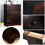 Haper & Bright Designs Chest of Drawers for Bedroom - 5-Drawer Chest Storage Dresser Cabinet, Dark Coffee Color