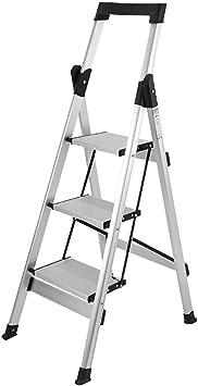 Escaleras plegables Taburetes Plegables Para Adultos/Adultos Mayores, Escalera Portátil De 3 Escalones Con Empuñadura, Escaleras De Tijera Plateadas Con Pedal Ancho, Carga De 330 Lb: Amazon.es: Bricolaje y herramientas
