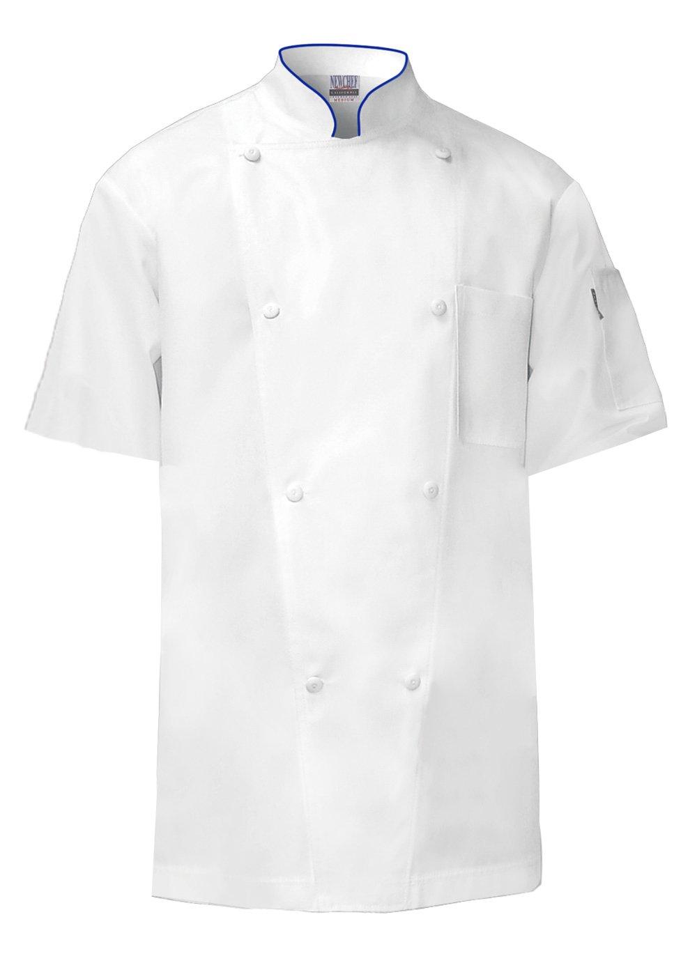 Newchef Fashion White Regent Short Sleeves Chef Coat with Royal Blue Trim 3XL White