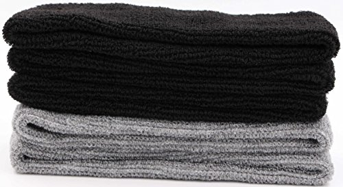 Sweat Headbands For Men-LeBeila Sweat Headband Cotton Headwrap For Basketball/Running/Sports, Mens Sweatband Stretchy Athletic Sweatbands 5PK (Black+Grey, 5PCS)