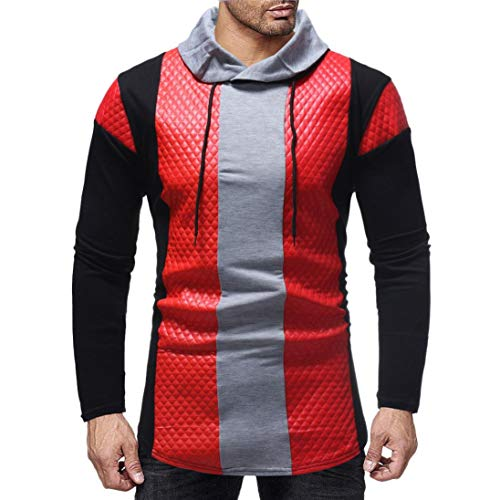 Realdo Mens Sweatshirt, Fashion Casual Autumn Winter Contrast Color Patchwork Rhombic Plaid Hoodie Top Blouse(XX-Large,Red) ()