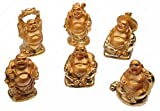 Happy laughing Figurine Buddha Statue, Set of 6, 2 Inches, Gold
