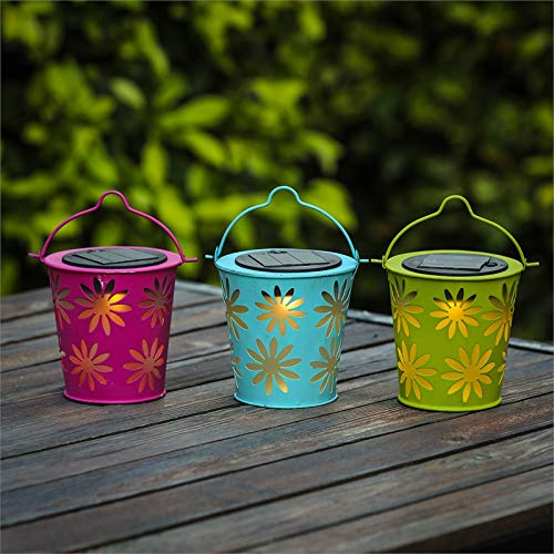 Winsome House Set of 3 Solar Lights in Colorful Metal Table Lamps
