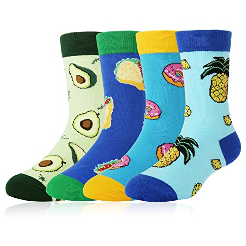 Kids Boy's Novelty Funny Crew Socks Crazy Food Sport Cotton Socks 4 Pack with Gift Box -