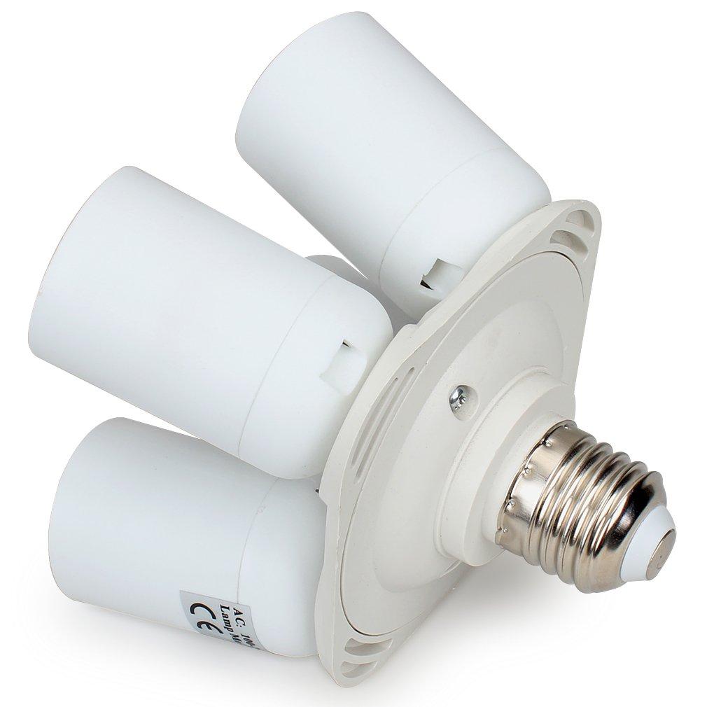 Amariver Flashpoint 4 Socket Adapter 4 in 1 Socket Adapter Holder Converter Garage Lighting and Others Standard Light Bulbs Lamp Socket Splitter for Photo Studio Lighting Work Shop White