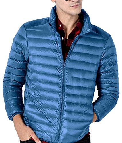 RESPEEDIME Men's Down Jacket Warm Handsome Youth Cozy Lightweight Outwear Coat Light Blue Small