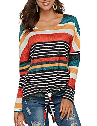 Womens Tie Front Knot Long Sleeve Striped Shirt Casual V Neck Blouse Tops