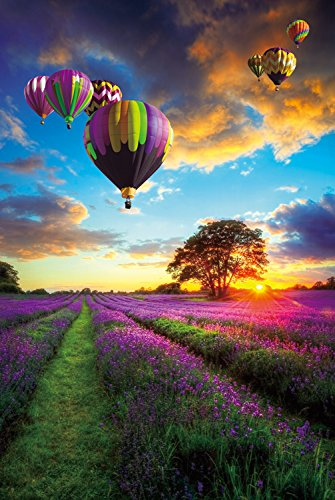 Wooden Jigsaw Puzzle Champs de lavande Hot Air Balloon over Lavender Field Sunset in France 1000-Pieces Size 30