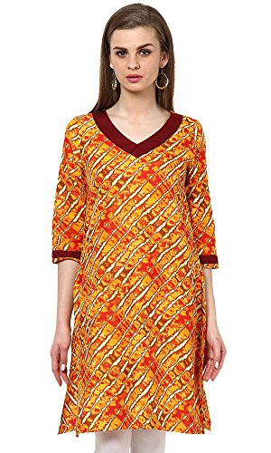 Indi-Dori-Womens-Cotton-Orange-Multi-Lehria-Printed-Kurti