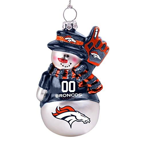 Broncos Glitter Snowman Ornament