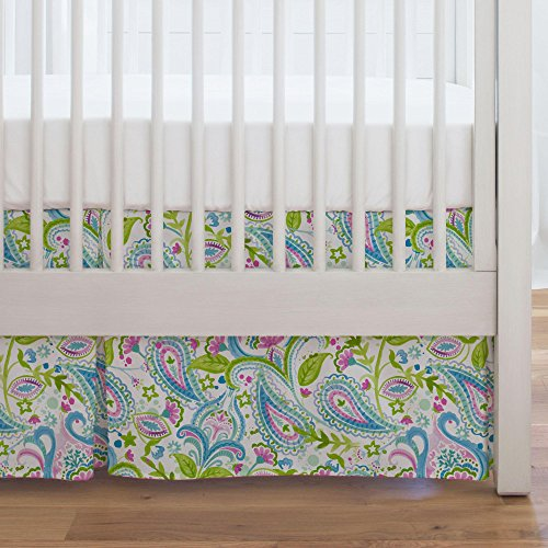 - Carousel Designs Orchid Painted Paisley Crib Skirt Single-Pleat 17-Inch Length - Organic 100% Cotton Crib Skirt - Made in The USA