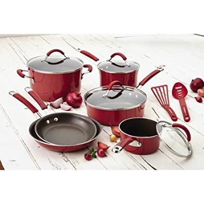 Rachael Ray(r) Cucina Hard Porcelain Enamel Nonstick Cookware Set, 12-Piece (Cranberry Red)