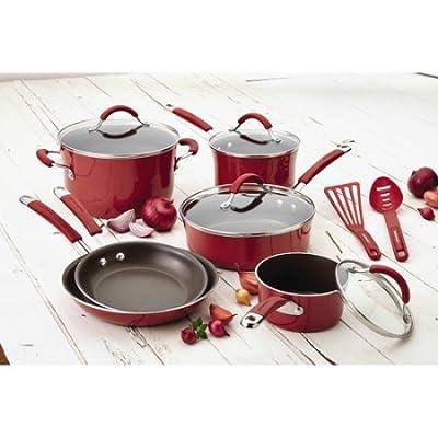 Rachael Ray(r) Cucina Hard Porcelain Enamel Nonstick Cookware Set, 12-Piece (Cranberry Red)
