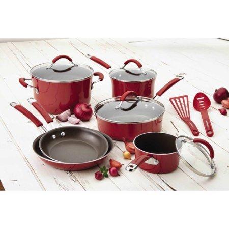 rachael-rayr-cucina-hard-porcelain-enamel-nonstick-cookware-set-12-piece-cranberry-red