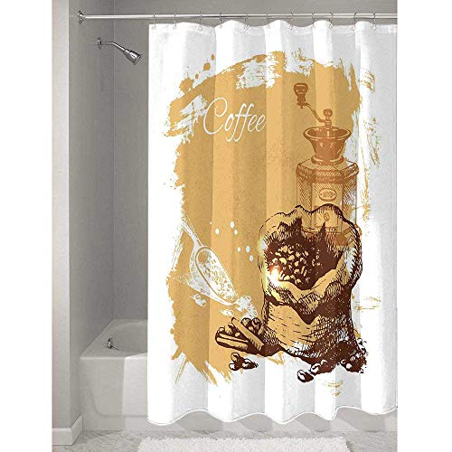 Coffee Exquisite polyester Shower curtain Vintage Sketch Art an Antique Mill and Bag of Beans with Cinnamon Sticks Prevent splashing water while taking a shower W79 x L72 Inch Brown Pale Brown White