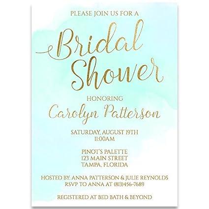 bridal shower invitations mint green aqua watercolor wedding white