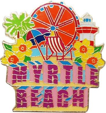 Myrtle Beach Souvenir Metal Magnet With Beach Icons