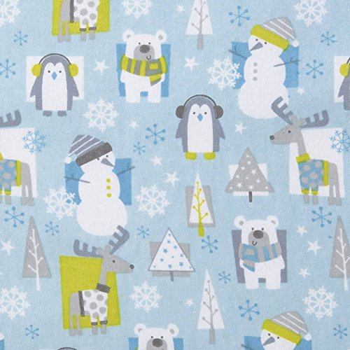N2 Beautiful Blue Green White Snow Pals Deluxe Flannel Fitted Crib Sheet, Animal Themed Nursery Bedding, Infant Child Reindeer Snowman Trees Winter Snowflakes Cute Adorable, Cotton Snow Pals Snowman