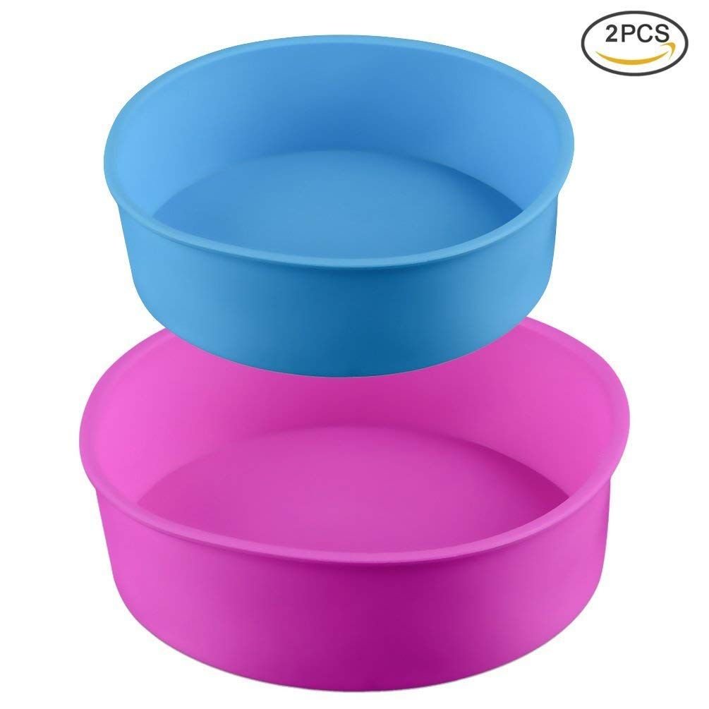 Uarter Round Silicone Cake Pan Baking Mold 8 Inches / 6 Inches, Set of 2, BPA-Free, Non-Stick Bakeware Pan, Random Color