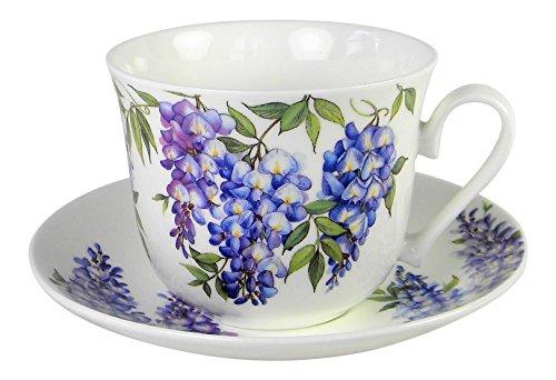 Roy Kirkham Wisteria Flower Breakfast Teacup and Saucer Set Fine Bone China ()