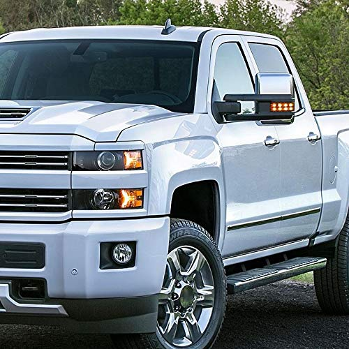 Chevy Silverado GMC Sierra POWER FOLDING+HEAT Extended Tow Mirrors w//LED Signal