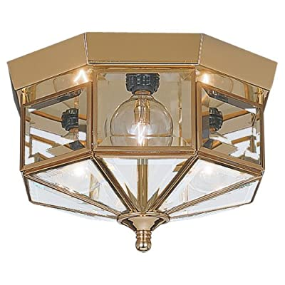 Sea Gull Lighting 3-Light Hall and Foyer Ceiling Fixture, Clear Beveled Glass Panels