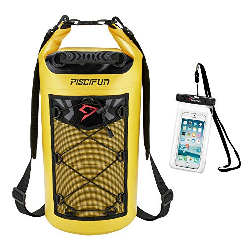 Piscifun Waterproof Dry Bag with Waterproof Phone Case Yellow 10L