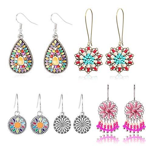 COMMINY 5 Pairs Bohemian Vintage Dangle Earrings, Metal Round Water Drop Shape Seed Bead Pendant Earrings Set Boho Chic Jewelry for Women Girls ()
