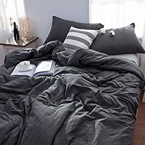 LIFETOWN Grey Duvet Cover Queen, Jersey Knit Cotton Duvet Cover Set, 1 Duvet Cover and 2 Pillowcases, Super Soft and…