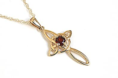 9ct Gold Amethyst Celtic Cross Pendant and Chain iu8gn5i