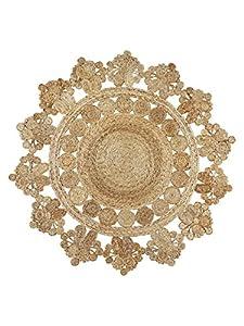 Alfombra redonda de yute grande, Seren de 150 x 150