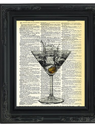 dictionary-art-print-dirty-martini-glass-printed-on-recycled-vintage-dictionary-paper-85x11-mixed-me