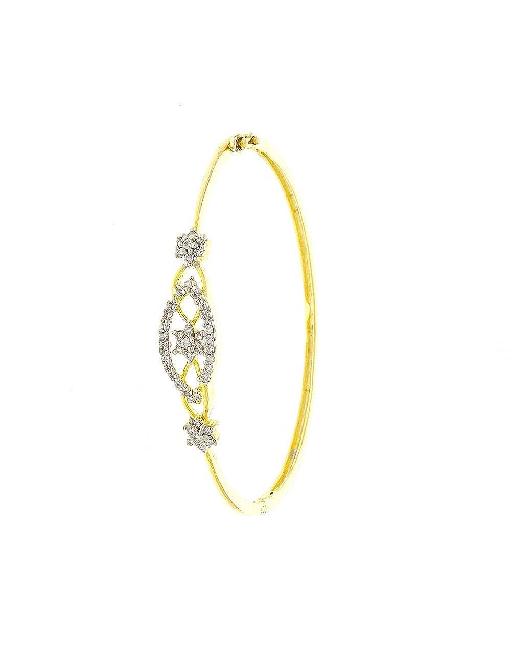 Anuradha Art Golden Finish Flower Styled Designer Shimmering American Diamonds Hand Bracelets//Kada for Women//Girls