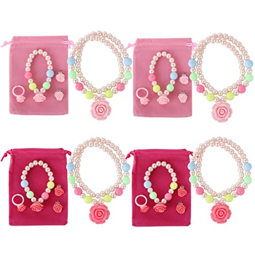 kilofly Princess Jewelry Value Pack of 4, Necklace, Bracelet, Earrings, Ring (Disney Pearl Earrings)