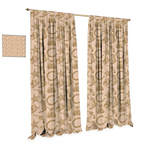 (cobeDecor Western Patterned Drape for Glass Door Engraving Style Star Boot and Money Revolver Line Pattern Worn Out Dotted Backdrop Waterproof Window Curtain W120 x L84 Tan Brown)