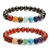 Jovivi 7 Chakra Healing Crystal Om Mani Padme Hum Buddhist Prayer Mala Tibetan Beads Bracelet