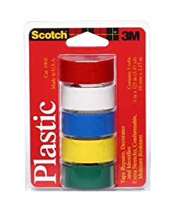 Scotch Super Thin Waterproof Vinyl Plastic Colored Tape, .75-Inch by 125-Inch, 5-Pack