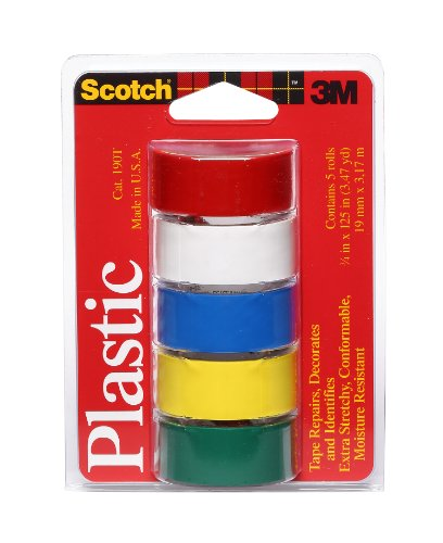 Scotch Super Thin Waterproof Vinyl Plastic Colored Tape, .75-Inch by 125-Inch, 5-Pack (Tape Plastic Vinyl)